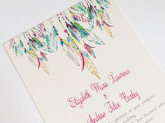 Feather Wedding Invitation  Native American от Whimsicalprints, $1.75