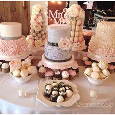 Wedding. Custom Cakes. Charcoal and Blush. Cupcakes. Bride and Groom Strawberries. Macarons. Strawberry Tower. Macaron Tower. Fall Wedding. Romantic. Whimsical Wedding. #VillageIndulgence @KerriCupcake on Instagram