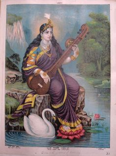 Saraswati, c. 1895. Colour lithograph, lettered, inscribed and numbered 32. Sarasvati, the goddess of learning and knowledge, is seated on the banks of a river. Her feet rest on a lotus flower, a palm leaf manuscript to represent the vedas is next to her and she holds a vina. Her mount, a swan, is positioned nearby.