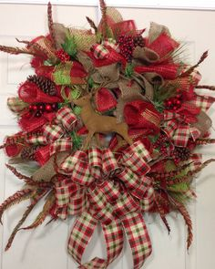Christmas+Mesh+Wreath+by+WilliamsFloral+on+Etsy,+$95.00