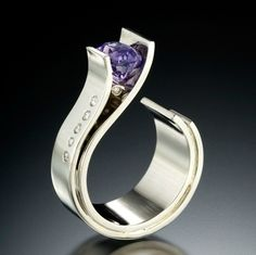 Ring | Adam Neeley.  Purple sapphire, 14kt white gold and diamonds.