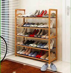5 Tier Wooden Shoe Rack Organiser Natural Wood Shoes Storage Unit Shelf Stander…