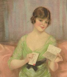 F Earl Christy Vintage Postcard Pretty Woman Thoughtfully Reading Letter 1911 Reinthal & Newman