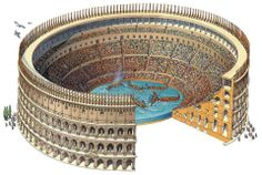 Artist's rendering of a naumachia (mock naval battle) inside the Colosseum, as documented by ancient sources during the inauguration of the amphitheater under emperor Titus in AD 80. The construction of the hypogeum - the elaborate network of galleries, mechanical lifts, and trapdoors beneath the arena floor - in the reign of Titus' younger brother and successor Domitian (AD 81-96) subsequently made such spectacles impossible.