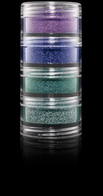Textile designer Vera Neumann's brilliant colour palette is translated into a limited edition set of four stackable jars of Crushed Metallic Pigment. Highlights eyes or skin with a striking colour wave of blue reflective metallic sparkle.