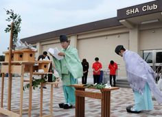 Shinto priests perform a traditional purification ceremony on the grounds of the new Community Recreation Center at U.S. Army Sagamihara Family Housing Area prior to its grand opening July 13, 2012. https://www.army.mil/article/83732/New_all_in_one_community_center_opens_on_Sagamihara_Housing_Area/