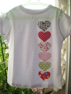 Heart applique tshirt. More at https://www.facebook.com/handmadewithcarebytania