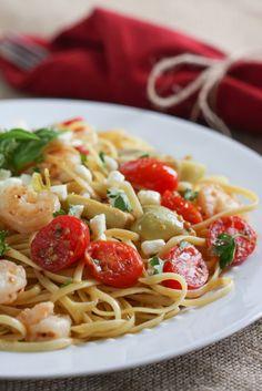 Shrimp, Artichoke & Feta Pasta | via foodnfocus.com