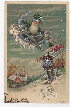 Elves Silver embossed postcard Elf gnomes money bags ladder crescent moon