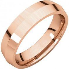14k Rose 5mm Knife Edge Comfort Fit Wedding Band - Sarraf.com