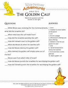 Enjoy our free Bible Quiz: The Golden Calf. Fun for kids to print and test their knowledge. Learn more about the Torah. Feel free to share with others, too!