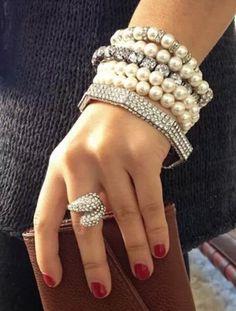ℳ a r i l ყ n ✿ܓ ♡ I Love bracelets/ bangles: pearls, diamonds and pandora♡ Pearl Jewelry, Jewelry Box, Jewelry Accessories, Fashion Accessories, Jewelry Design, Fashion Bracelets, Bangle Bracelets, Fashion Jewelry, Bangles