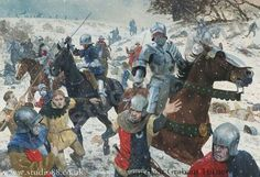 the defeated Lancastrian army runs at battle of Towton