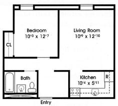 One Bedroom Apartment Layouts floor plan under 500 sq ft | standard floor plan- one bedroom