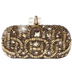 Marchesa Marchesa Gold Embroidered Clutch ($3,295) ❤ liked on Polyvore