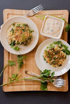 Cauliflower and Chard Fritters with Spicy Yogurt Cilantro Sauce | http://mycaliforniaroots.com/cauliflower-chard-fritters-with-spicy-yogurt-cilantro-sauce/