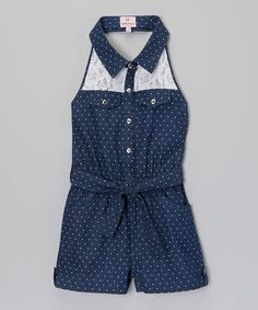 Look what I found on #zulily! Blue Polka Dot Lace Denim Romper - Toddler & Girls #zulilyfinds