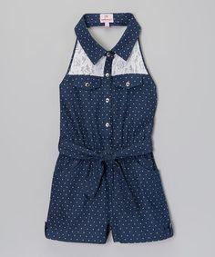 Look what I found on #zulily! Blue Polka Dot Lace Denim Romper - Toddler & Girls #zulilyfinds