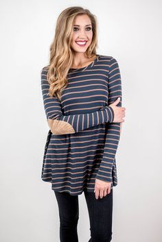 Teal Stripe Elbow Patch Tunic