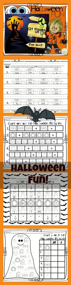 This Halloween Fun  packet can be made into a booklet or just pick and choose which pages you want to use and differentiate as needed. What's Included:    1.  8 pages of Halloween Scrambled Sentences to reorder.    2.  1 Sentence fill in the blank using your senses for Halloween, Color, cut and glue page.    3.  3 pages of Alphabet            sequence…add the missing         letter.    4.  2 picture adding pages    5.  2 picture counting pages.    AND MORE!