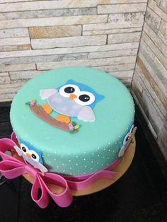 Resultado de imagen para cumpleaños de buhos nena decoracion Owl Themed Parties, Owl Birthday Parties, Owl Cake Birthday, Adult Birthday Cakes, Just Cakes, Cakes And More, Fondant Cakes, Cupcake Cakes, Owl Cakes