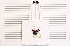Sunshine Pug Tote Bag by AllYouNeedIsPugShop on Etsy, $18.50 #pug #pugs #allyouneedispug #summer