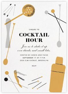 Explore a wide selection of online cocktail party invitations. From seasonal to birthday cocktail parties, browse designs for any special occasion. Cocktail Party Invitation, Brunch Invitations, Online Invitations, Cocktail Night, Party Poster, Invitation Design, Invite, Typography Design, Layout Design