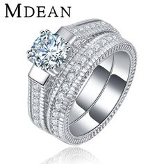 MDEAN White Gold Plated Ring Sets for women engagement ring cz diamond vintage women rings fashion Jewelry Accessories MSR121