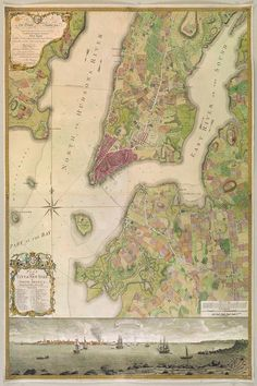 Part of New York in 1742 - Norman B. New York City Map, City Maps, Vintage Wall Art, Vintage Walls, New York Harbor, New Amsterdam, Africa Map, Wedding Art, Historical Maps