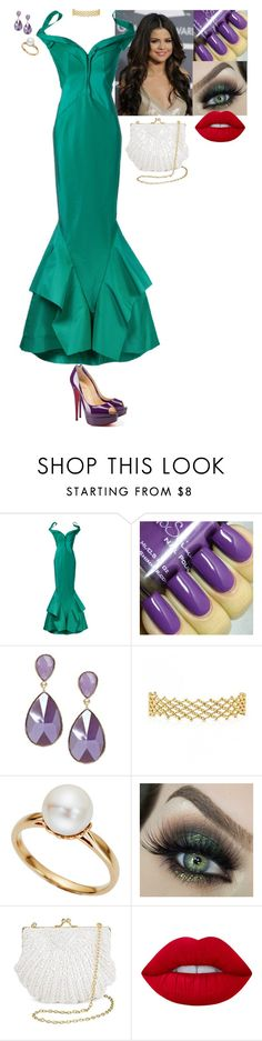 """Ball - Ariel (The Little Mermaid)"" by stinze on Polyvore featuring Zac Posen, TARA Pearls, Tevolio, Lime Crime and Christian Louboutin"