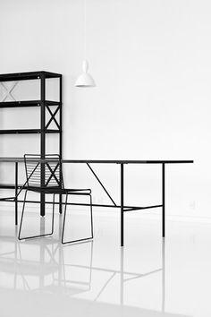 white space, black furniture