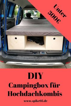 Dacia Dokker DIY camping box - material list for DIY - Do you have a Dokker or similar high roof combination and would you like to build a camping box you - Auto Camping, Minivan Camping, Trailers Camping, Camping Diy, Mini Camper, Bus Camper, Berlingo Camper, Hyundai Suv, Minivan Camper Conversion