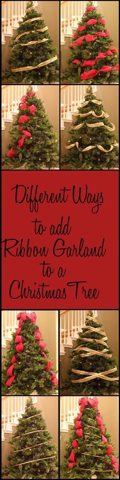 Decorating Kitchen Do you know all these different ways to add ribbon garland to a Christmas tree? - Different Ways to Add Ribbon Garland to a Christmas Tree Noel Christmas, Primitive Christmas, Country Christmas, Christmas Projects, Winter Christmas, Christmas 2017, Ribbon On Christmas Tree, Christmas Ideas, Christmas Lights