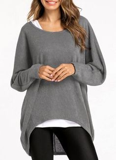 Round Neckline Solid Loose Underwear Sweaters - Get in my closet! Underwear, Pullover, Affordable Clothes, Outfit Goals, Dame, Plus Size Fashion, Casual Outfits, Sweaters For Women, Tunic Tops