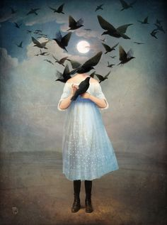 dress, girl, woman, birds, moon, surreal