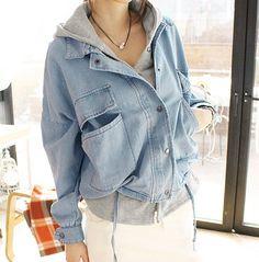 Cute fashion hooded fleece jean jacket
