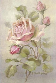 Christie Repasy Pink Rose Original Canvas Print, featuring a pink roses, this canvas print is an original painting by Christie Repasy. Arte Floral, Deco Floral, Vintage Cards, Vintage Paper, Vintage Postcards, Decoupage Vintage, Vintage Flowers, Vintage Floral, Vintage Rosen