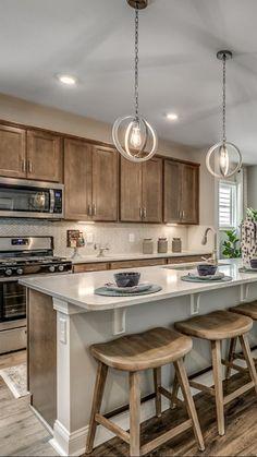 Farmhouse Style Kitchen, Modern Farmhouse Kitchens, Country Kitchen, Home Kitchens, Remodeled Kitchens, Farmhouse Kitchen Cabinets, Open Plan Kitchen Living Room, Kitchen Redo, Home Decor Kitchen