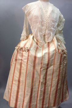 Apron, 18th century. Cream and salmon striped silk taffeta, with two pockets (!).