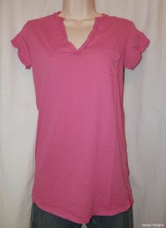 T.LA TOP XS Pink NEW Raw Edged Vneck Tee Short Sleeve Pocket NWT ANTHROPOLOGIE