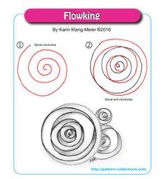 Tangle pattern: Flowking by Karin Klang-Meier Zentangle Drawings, Doodles Zentangles, Zentangle Patterns, Doodle Drawings, Doodle Art, Zen Doodle Patterns, Doodle Borders, Art Zen, Zantangle Art