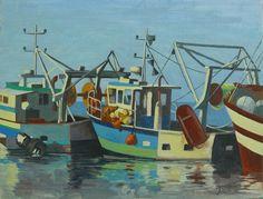 JACQUES DURAND-Chalutiers au port de Saint-Quay, 2014, Toile sur châssis, huile, 35 cm x 27 cm
