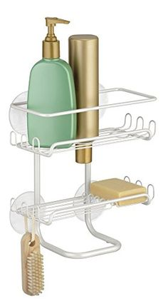 #applainces The #mDesign #Suction Shower Shelves will give your shower space a more contemporary feel. It has two shelves with hooks on each side for razors and m...