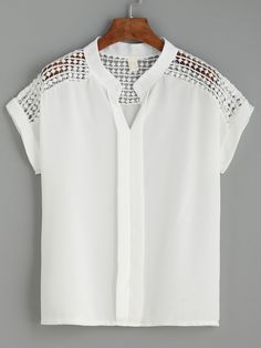 Shop White Dot Crochet Yoke Layered Placket Blouse online. SheIn offers White…