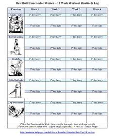 Best Butt Workouts for Women - Free Printable 12 Week Butt Workout ...