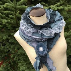 Romantic Scarf Cotton Ruffled Upcycled Shawl by danamurphydesigns