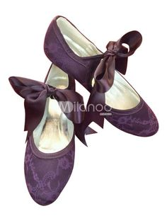 Purple Round Toe Flower Lace Wedding Shoes. See More Bridal Shoes at http://www.ourgreatshop.com/Bridal-Shoes-C919.aspx