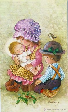 0940H - CONSTANZA - BONITA POSTAL - MIDE 13,5X8 CM (Postales - Dibujos y Caricaturas) Vintage Cards, Vintage Postcards, Vintage Images, Gb Bilder, Le Jolie, Holly Hobbie, Baby Prints, Cute Illustration, Big Eyes