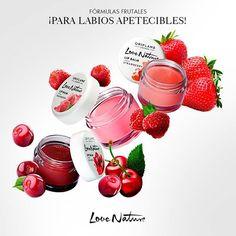 ¡Labios dulces y apetecibles como una fruta! Llénate de color y sabor con los nuevos Bálsamos Labiales Love Nature. Frambuesa, fresa o cereza, ¡elige tu favorita!