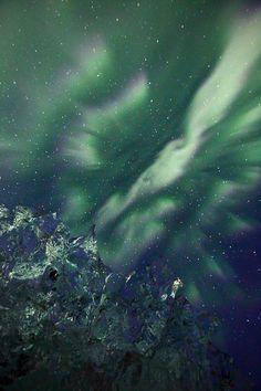 Iceberg and Aurora Borealis - Iceland